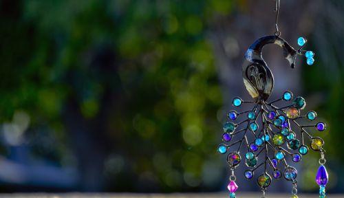 phoenix, stiklas, karoliukai, saulės šviesa, vėjo giesmė, fonas, neigiamas, erdvė, dekoruoti, apdaila, kabantis, paukštis, phoenix vakare