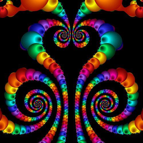fraktalas, simetriškas, piešimas, phoenix, spiralės, juoda, fonas, phoenix spirals