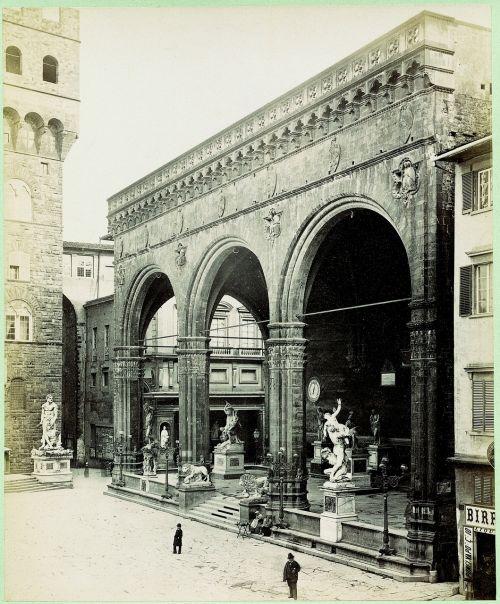 nuotrauka,senas,senas įrašas,sepija,vintage,nostalgija,retro,Florencija,loggia dei lanzi,arcade building,XIV amžius,Florencijos respublika,giovanni bologna,apiplėšimas,moteriškos moterys,renesansas,UNESCO pasaulio paveldo skenavimas