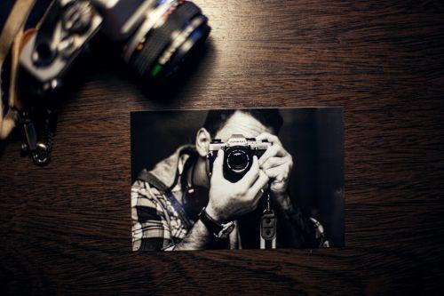 nuotrauka, stalas, fotoaparatas, vintage, retro, juoda & nbsp, balta, nuotrauka, popierius, nuotrauka ant stalo