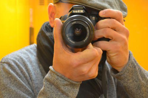 Fotografas,koncentracija,nikon,objektyvas,veidrodis