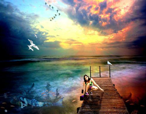 Photoshop,manipuliavimas nuotraukomis,undinė,mergaitė,jūra,vanduo,photoshop menas,izoliuotas