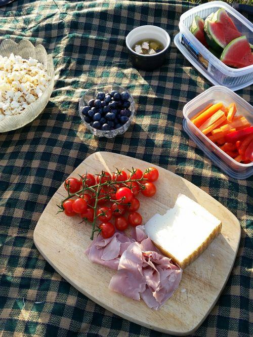 iškylai, maistas, pietūs, antklodė, vasara, maistas, mėsa, sūris, daržovės, sveikas, skanus, parkas