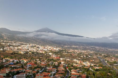 vulkanas, kalnai, kalnas, teide, miestas, & nbsp, orotava, Canary & nbsp, salos, Ispanija, panorama, vaizdas, pico del teide