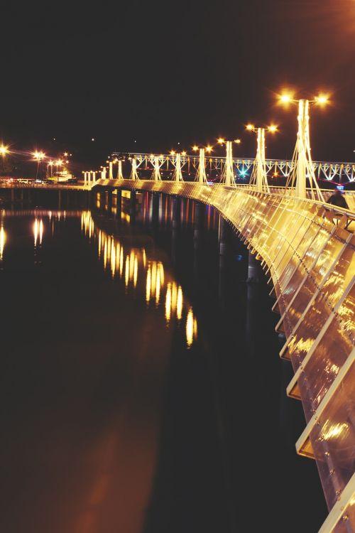 prieplauka,žibintai,naktis,upė,Lenkija,Lenkija,plock