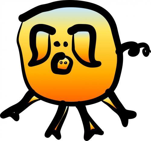 kiaulė, gyvūnas, animacinis filmas, linksma, juokinga, oranžinė, liepsna, balta, fonas, kiaulių animacinis filmas