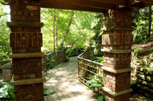 kelias, takas, stulpai, mūrinis mūras, sodas, botaninis & nbsp, sodas, žaluma, augalai, tiltas, taikus, vaizdingas, vaizdingas, graži, gražus, ramus, ramus, tylus, stulpai ir kelias