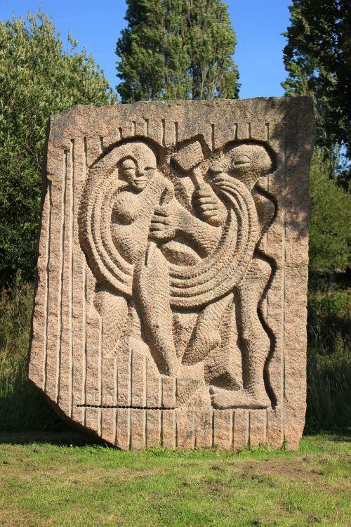 rožinis granitas, ploumanach, skulptūra, moteris, vyras, pierre, granitas, Brittany, france, tekstūra, roc, be honoraro mokesčio