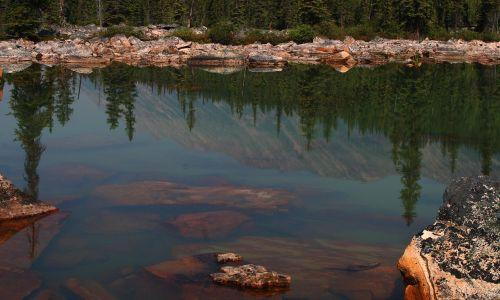 rožinis granitas, granitas, uola slide, atspindys, vanduo, Negazuotas vanduo, akmenys, Kanados uolos, pušys, vandens atspindys, uolos vandenyje, rožinis