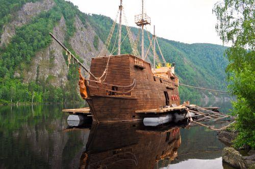 laivas, piratas, gamta, upė, hobis, pomėgiai, statyba, mediena, kavos & nbsp, parduotuvė, restoranas, piratas