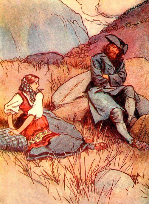vintage, knygos & nbsp, iliustracija, Senovinis, senas, Arturas & raquo, istorija, literatūra, vaikystę, žmonės, scena, lauke, kraštovaizdis, akmenys, mergaitė, piratas, piratas ir mergina