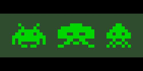 Pixelgrafic, Dos, Žaidimas, Įsibrovėlių, Erdvė, Žalias, Pikselis, Nemokama Vektorinė Grafika