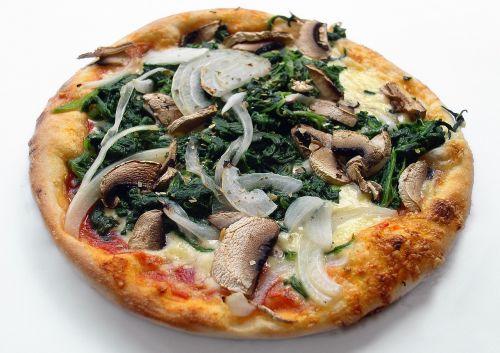pica, maistas, valgyti, vegetariškas, daržovių pica, pica topping, svogūnai, špinatai, maistas, sūris, skanus, makaronai, grybai