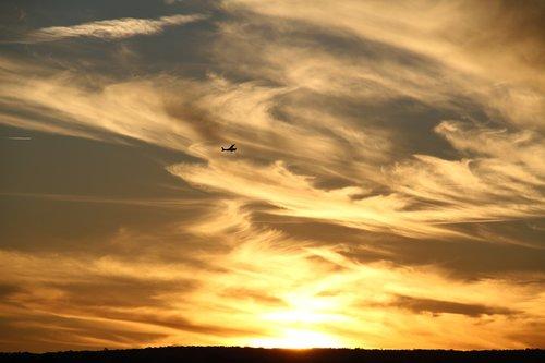 plokštuma, saulėlydžio, lėktuvas, dangus, kelionė, skrydis, orlaivių, skristi, atostogos, aviacijos, Sunrise, kelionė, kelionė, debesys, saulė, turizmas