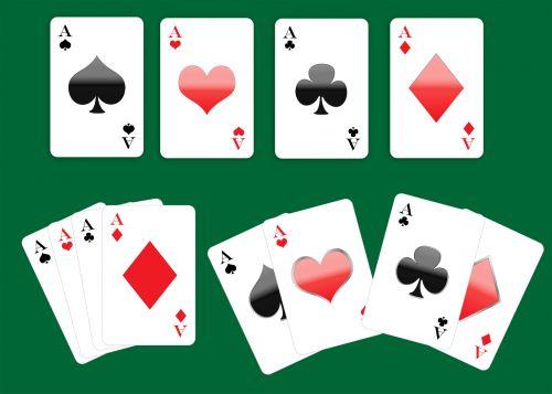žaisti & nbsp, korteles, denio & nbsp, kortelės, kortelės, nustatyti, ace, tūzai, klubai, klubas, lopai, lova, deimantas, deimantai, širdis, širdis, žaidimas, žalias, fonas, menas, iliustracija, žaidimo kortos aus