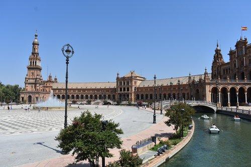 Ispanija aikštė, Sevilija, Sevilla, Ispanija, Europa, keliauti, Turizmas, Plaza