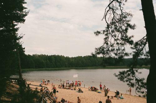 papludimys, tvenkinys, echo, zwierzyniec, Lublin, Lenkija, paplūdimys šalia tvenkinio