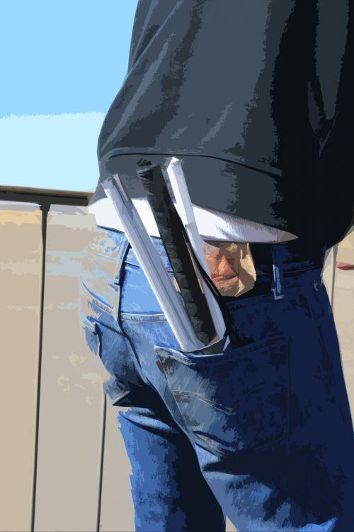 džinsai, atgal & nbsp, kišenė, asmuo, nendrės, balta, sulankstytas, parama, neįgalus, kišenė, laikanti baltojo cukranendrių