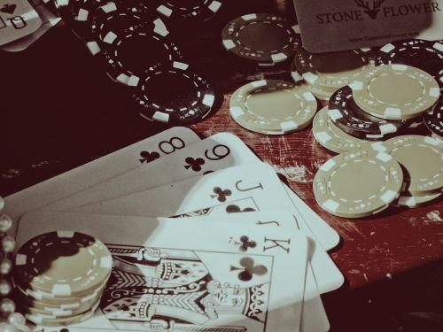 vintage, pokeris, lustai, ranka, kortelės, tiesus, karalius & nbsp, aukštas, klubai, nugalėtojas, žaidimas, kortelės & nbsp, žaidimas, pokerio rankos ir lustai