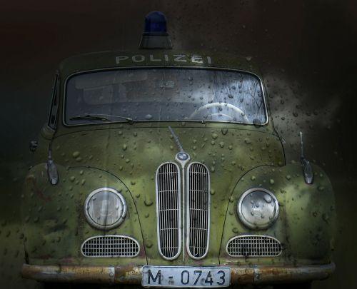 policijos automobilis,senas laikmatis,filmas automobilis,isar12,automatinis,senas,patruliuojantis automobilis,bmw 501,radijo juostos automobilis,senas automobilis,automobilis,transporto priemonė,rusted,senovės,korozijos,amžius,metalas,automobilis,gabenimas,transportas,vintage,skaitmeniniai meno kūriniai,skaitmeninis menas,Senovinis,skaitmeninė kūryba,grafinis,lašeliai