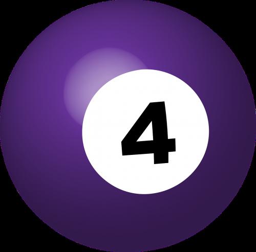 baseino kamuolys,numeris 4,sfera,rutulys,žaidimas,biliardas,3d,nemokama vektorinė grafika