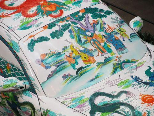 Porsche,automobilis,transporto priemonė,dažytos,priekinis stiklas,asian,rytietiškas,motyvas,tema,menas,meno kūriniai,spalvinga,detalizuoti,meno,išraiška