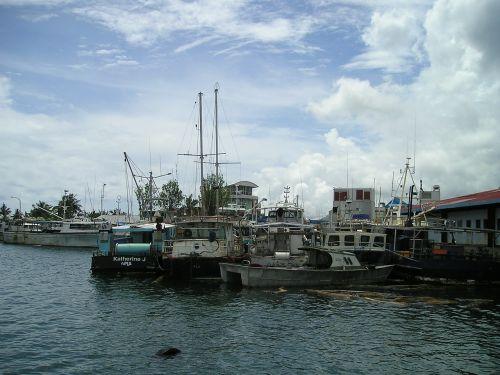 uostas,laivai,samoa,egzotiškas,Pietų jūra,sala