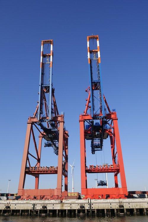 uosto pramonė, konteineris, konteinerių kranai, tvarkymo prekes, Konteinerio valdymo, Hamburg, uosto, Elbės, terminalo, kranas, su keliamuoju kranu sistemos, technologija