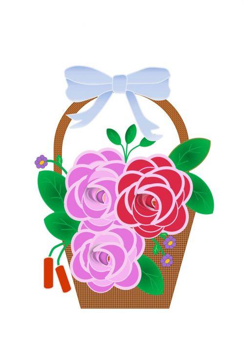 plakatas,mentės,brėžiniai,gėlės,augalai,krepšelis,dizainas