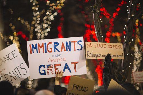 plakatai,žmonės,ralis,protestas,imigrantai,mus,amerikietis,Žmonių teisės,naktis,Bokeh,žibintai,suvienyti