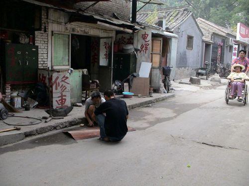 skurdas,ne,Kinija,Pekinas,Senamiestis,žmogus,gatves,sėdi