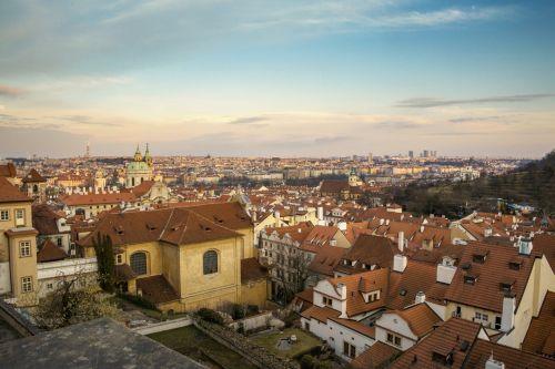 prague, Čekija & nbsp, respublika, miestas, vaizdas, namai, architektūra, stogai, panorama, prague, Čekijos Respublika