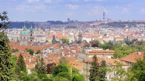 Praha, pagrindinis miestas Bohemijoje, istorinis centras, Senamiestis, Zizkov, Žižkov bokštas, Panorama, Peržiūrėti, Čekijos respublika, architektūra, romantiškas vaizdas, romantiškas miesto, Europos paminklai