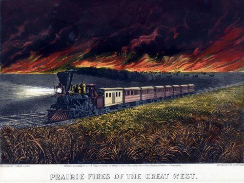 Ugnis, prairie, kvieciai, laukas, naktis, persekiojimas, toliau, traukinys, garo & nbsp, traukinys, spausdinti, vintage, viešasis & nbsp, domenas, Laisvas, prairie ugnies gesinimo traukinys