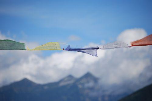 maldos vėliavos, tibetas, budizmas, tikėk, vėliava, tibetiečių maldos vėliavos, tibetietis, debesys, kalnai, vėjas, Alpių, italija