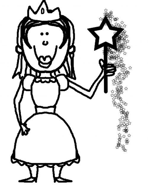 princesė, fėja, magija, lazdelė, pasaka, vaizduotė, charakteris, kontūrai, juoda, balta, princesė su stebuklinga lazda