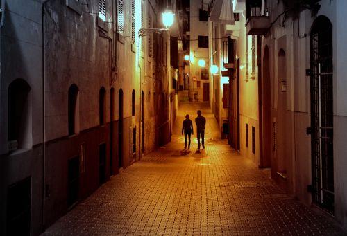 pora, miestas, naktis, gatvė, vaikščioti, apšvietimas, romantika, Maljorka, Ispanija, nuotrauka, Laisvas, vaikščioti naktį miestą