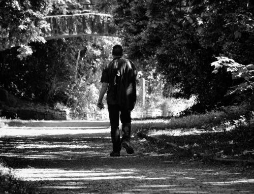 vaikščioti, vaikščioti, baladė, vienatvė, vyras, charakteris, juoda & nbsp, balta, vienišas vaikščioti