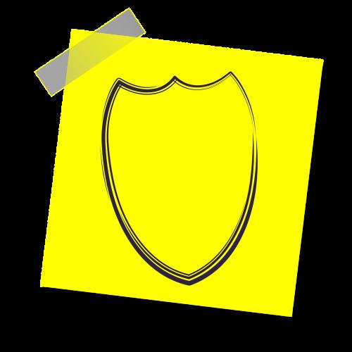 apsauga,skydas,ekranavimas,apsaugoti,apsaugos koncepcija,draudimo koncepcija,piktograma,geltona lipdukė,pastaba,rašyti pastabą