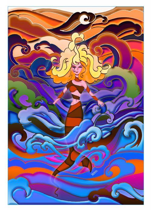 undinė, psichodelinis, bangos, banshee, fantazija, sirena, jūra, iliustracija, psichodelinė undinė