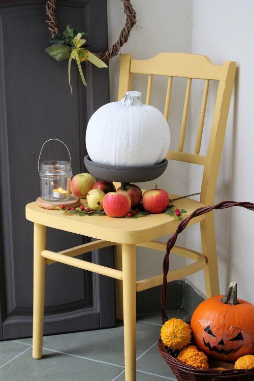 moliūgas,ruduo,obuoliai,kėdė,daržovės,Halloween,dekoratyviniai moliūgai,Spalio mėn,apelsinų moliūgai,moliūgai