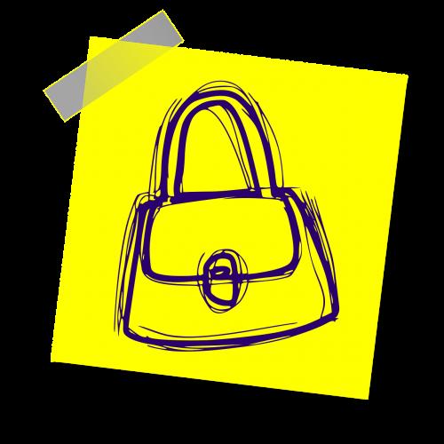 piniginė,mada,moteris,Moteris,rankinė,maišas,ženklas,pastaba,geltona lipdukė,rašyti pastabą,biuras