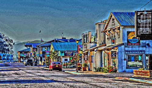 kaimas, Miestas, nuostabus, rytas, tuščia, parduotuvės, parduotuvės, meno, dažytos, tapybos, nuostabus pajūrio kaimas