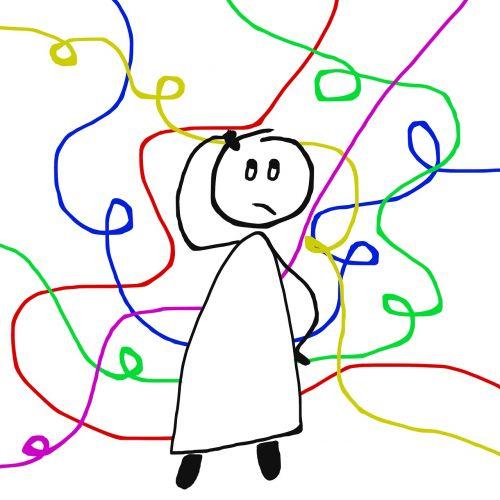 klausimai,paklausa,abejonės,psichologija,baimė,nesaugumas,asmuo,Stick man,vyrai,Stick Figūros,piešimas,Klaustukas,mintis,mintis,chaosas