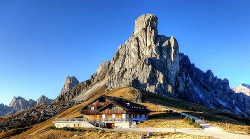 Ra Gusela,  Passo Giau,  Dolomitai,  Italija,  Kalnų Grupė,  Kalnai,  Peržiūrėti,  Požiūris,  Geras Vaizdas,  Numatymas,  Kalnų,  Pobūdį,  Kraštovaizdis,  Dangus,  Panorama,  Žygiai,  Ruduo,  Summit,  Nuotaika