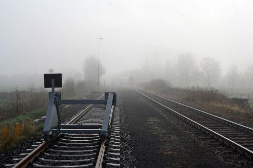 geležinkelis, transporto sistema, geležinkelio linija, rūkas, horizontalus, gleise, Bremervörde, elbe - weser trikampis, be honoraro mokesčio