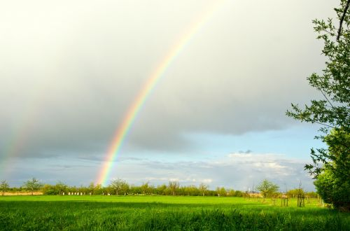 vaivorykštė,debesys,saulė,dangus,gamta,nuotaika,kraštovaizdis,orų reiškinys,natūralus spektaklis,oras,farbenspiel,laukas,ariamasis,pavasaris,Balandis,balandžio mėn. oras