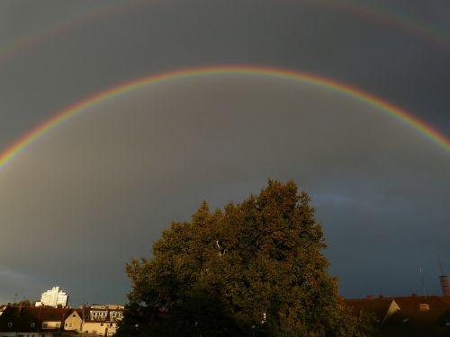 vaivorykštė,dviguba vaivorykštė,veidrodis,refrakcija,dvigubas,du,tamsi,reiškinys,lietus,saulės šviesa,dangus,gamta,spektras,spalvinga,gamtos reiškinys,vaivorykštės spalvos,ray,natūralus spektaklis,žinoma,įspūdingas,debesys,pusiau ratas,medis,antrinė vaivorykštė