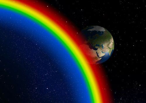 Vaivorykštė, Meno Pasaulis, Erdvė, Mokslinė Fantastika, Kraštovaizdis, Planeta, Žemė, Astronomija, Visata, Astronautika