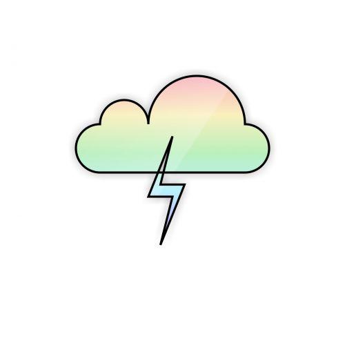 vaivorykštė, debesis, griauna, žaibas, juoda, kontūrai, izoliuotas, piešimas, balta, fonas, oras, vaivorykštės debesis